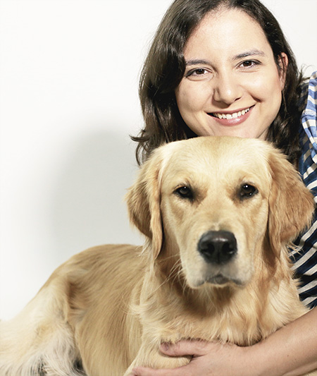 Dr. Samia Little Elk & Golden Retriever